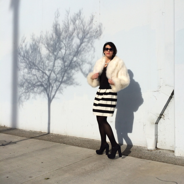 White Fur And High Contrast Winter Fashion In Los Angeles